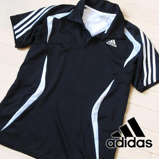 アディダス(adidas)の美品 Mサイズ アディダス climaLITE メンズ 半袖ポロシャツ ブラック(ポロシャツ)