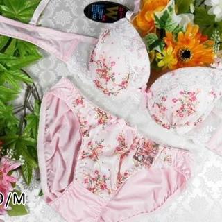 043★A70 M★美胸ブラ ショーツ Wパッド 小花 レース ピンク(ブラ&ショーツセット)