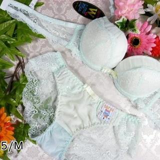 112★B75 M★美胸ブラ ショーツ Wパッド レース マーメイドグリーン(ブラ&ショーツセット)