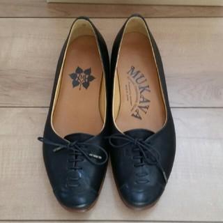 ショセ(chausser)の再お値下げ  ムカヴァ レースアップフラットパンプス ブラック 22.5cm(ローファー/革靴)