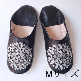 【新品】モロッコ バブーシュ(ブラック)Mサイズ(スリッパ/ルームシューズ)