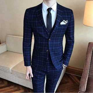 チェック柄 スーツメンズ 紳士 スーツジャケット セットアップ 着痩せzb325(セットアップ)