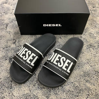 ディーゼル(DIESEL)のDIESELディーゼル新品人気ロゴシャワーサンダル箱付きブラック送料込み(サンダル)