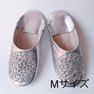 【新品】モロッコ バブーシュ(シルバー)Mサイズ(スリッパ/ルームシューズ)