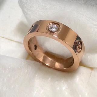 ラブリング風♡ CZダイヤモンド付き ステンレスリング(リング(指輪))