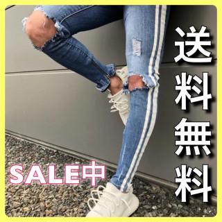 即売れ★Mサイズ ダメージスキニー サイドライン(デニム/ジーンズ)