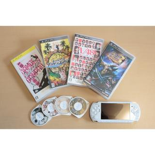 ソニー(SONY)のPSP3000 ホワイト本体+ソフト+4GBメモリースティック付き(携帯用ゲーム本体)