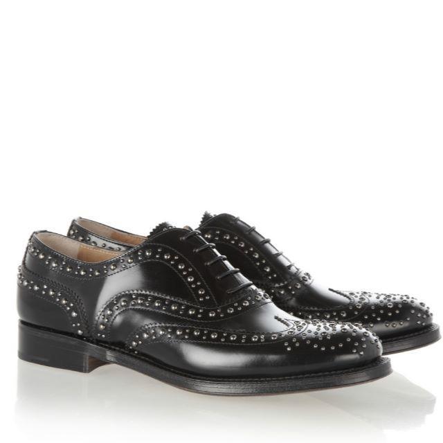 Church's(チャーチ)のChurch's バーウッドスタッズ オックスフォードブラック レディースの靴/シューズ(ローファー/革靴)の商品写真