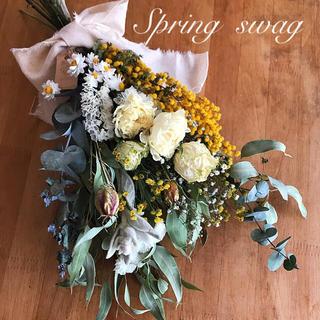 ドライフラワー*ボリュームラナンキュラスとミモザの Spring swag❁(ドライフラワー)