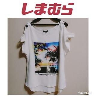 しまむら - しまむら フォトプリント Tシャツ ホワイト 半袖