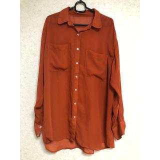 シャツ シースルー オレンジ ビックサイズ(Tシャツ/カットソー(七分/長袖))
