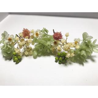 プリザーブドフラワー ドライフラワー 大粒かすみ草 ブルーグリーン紫陽花(ヘアピン)