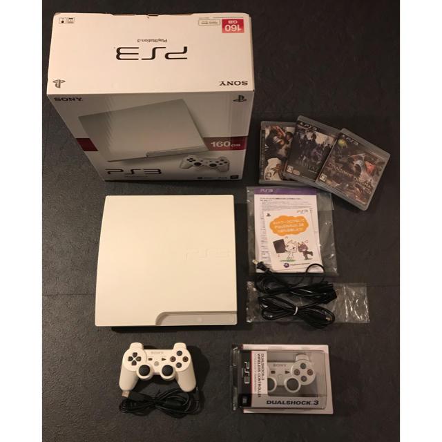 PlayStation3(プレイステーション3)のプレステ3 CECH-3000ALW 160GB +ソフト3本 エンタメ/ホビーのテレビゲーム(家庭用ゲーム本体)の商品写真