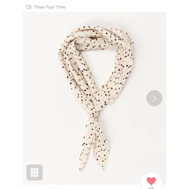 ThreeFourTime(スリーフォータイム)のThree Four Time ドット柄リング付き スカーフ 美品 レディースのファッション小物(バンダナ/スカーフ)の商品写真