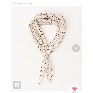 スリーフォータイム(ThreeFourTime)のThree Four Time ドット柄リング付き スカーフ 美品(バンダナ/スカーフ)