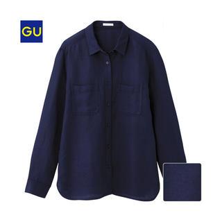 ジーユー(GU)のGU リネンブレンドシャツ ネイビー 紺(シャツ/ブラウス(長袖/七分))