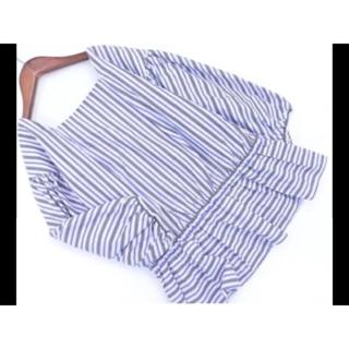 ユナイテッドアローズ(UNITED ARROWS)のユナイテッドアローズストライプシャツ チュニック白青グレー(シャツ/ブラウス(長袖/七分))