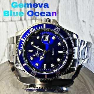 【海外限定】アクアブルー♪ Gemeva 腕時計 メンズ ウォッチ(腕時計(アナログ))