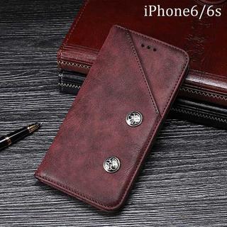 レッド iPhone6 iPhone6s ケース 手帳型カバー シンプル(iPhoneケース)