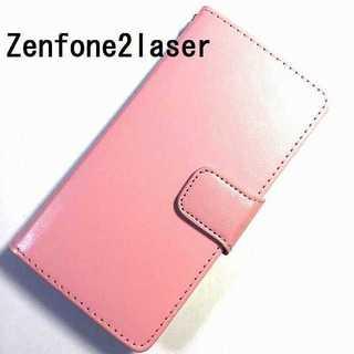 zenfone2laser ライトピンク シンプル レザー(Androidケース)