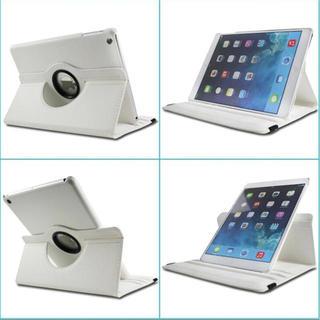 iPad5 iPad6【ホワイト】 360度回転 タブレットケース☆(iPadケース)