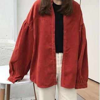 大きい ゆったり コーデュロイ ジャケット  赤 red♪(シャツ/ブラウス(長袖/七分))