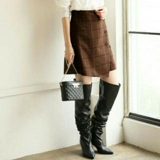 ローリーズファーム(LOWRYS FARM)のローリーズファーム、茶色、Lサイズ、ツイード、スカート、ゴムあり(ミニスカート)