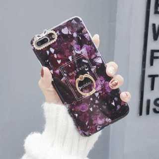 iPhoneケース ダークパープル iPhone7/8 大理石 バンカーリング(iPhoneケース)