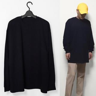 オーバーサイズ ビッグロンT ビッグサイズ ビッグシルエット ブラック(Tシャツ/カットソー(七分/長袖))