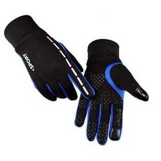 グローブ 手袋 軽量 マイクロファイバー タッチスクリーン 男女兼用 ブルー M(手袋)