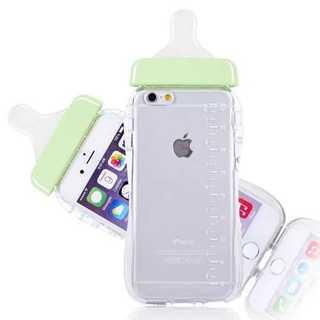 スマホケース グリーン iPhone 6/6S 哺乳瓶 ミルク TPU かわいい(iPhoneケース)
