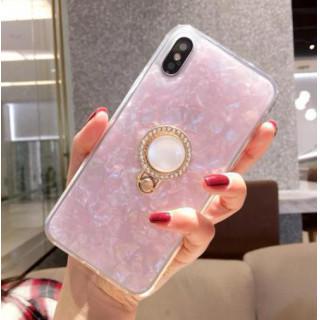 iphoneケース ピンク iphoneX 宝石柄 リングブラケット シェル(iPhoneケース)
