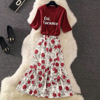 新作 花柄 シフォン素材 プリーツスカート  春トレンド 韓国ファッション(ロングスカート)