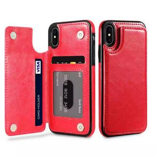 iPhone用 レザー調 背面カード収納 背面だからすぐ使える レッド(iPhoneケース)