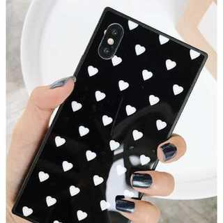 黒 ハート柄iphone8(黒 ハート柄iphone8 iphone7)(iPhoneケース)