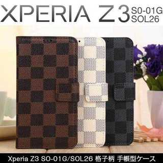 Sony Xperia チェック柄手帳型レザーケース(iPhoneケース)