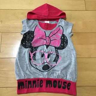 ディズニー(Disney)のミニーちゃん フード付きTシャツ 90(Tシャツ/カットソー)