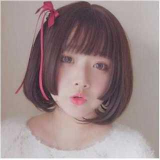 姫カット ウィッグ ショート ボブ 小顔 ぱっつん ロリータ 黒 ブラック(ショートストレート)