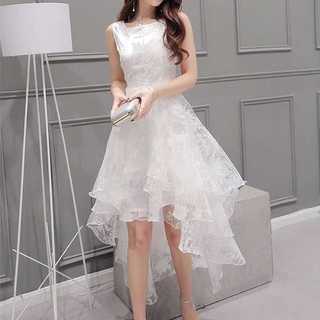 パーティー ドレス アシンメトリー イレヘム オーガンジー フィッシュテール(ミディアムドレス)
