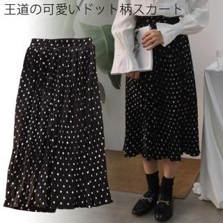 ドット柄 シフォンスカート ミモレ丈 スカート ミディアム丈 (ブラック)(ひざ丈スカート)