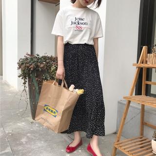 残りわずか ドット柄スカート ロングスカート プリーツスカート 韓国服(ロングスカート)