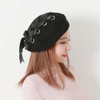新品 リボン付き ベレー帽 ブラック ✰(ハンチング/ベレー帽)
