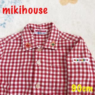 ミキハウス(mikihouse)のミキハウス くまさん 襟 刺繍 チェック シャツ 90 トップス 長袖 レトロ(ブラウス)