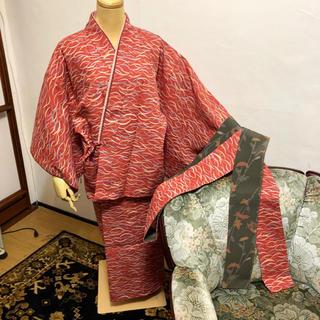 二部式着物。化繊のお着物です。伊達締め付き(着物)
