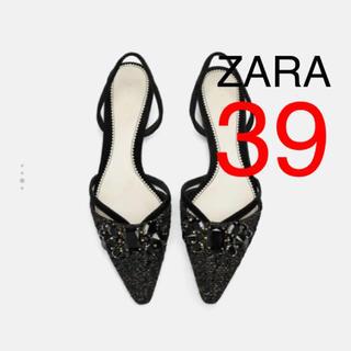 ザラ(ZARA)の新品タグ付き ZARA ザラ ビジュー付き バックストラップ パンプス 39(ハイヒール/パンプス)
