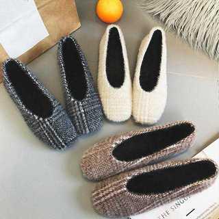 【新品】パンプス ファーパンプス レディースシューズ 靴 韓国 フラットパンプス(ハイヒール/パンプス)