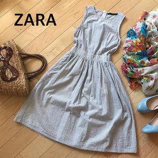 ザラ(ZARA)のワンピース【ZARA】ストライプ  コットン  ノースリーブ(ひざ丈ワンピース)