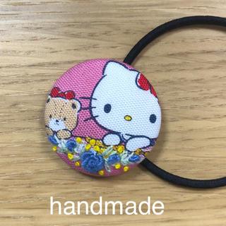 ヘアゴム  キティーちゃん生地 バラ刺繍 ハンドメイド  99