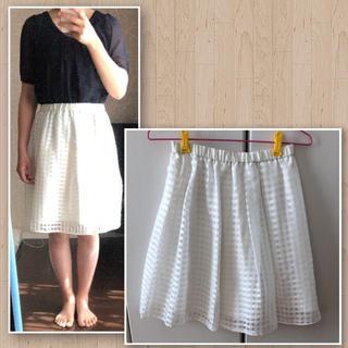 リバーシブル ホワイト チェック柄 スカート(ひざ丈スカート)