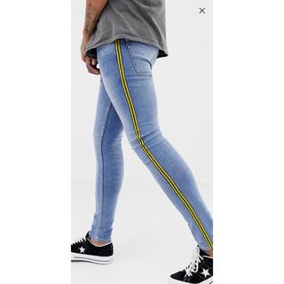 ASOS メンズ  デニム スキニー ジーパン ライン ファッション ズボン(デニム/ジーンズ)